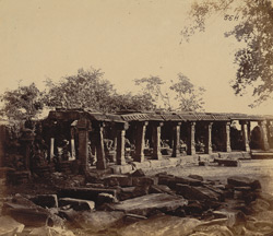 General view of statues in the colonnade of the Chaunsath Yogini Temple, Bheraghat, Jabalpur District 10031229